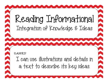 First Grade Common Core Student-Friendly ELA Standards - Red Chevron