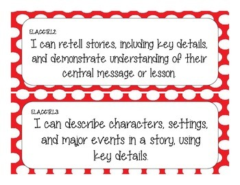 First Grade Common Core Student-Friendly ELA Standards - Red Polka Dot