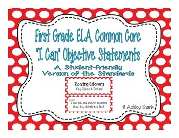 First Grade Common Core Student-Friendly ELA Standards - R