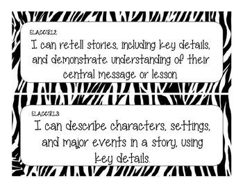 First Grade Common Core Student-Friendly ELA Standards - Zebra Print