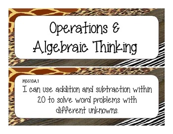 First Grade Common Core Student-Friendly Math Standards - Animal Print