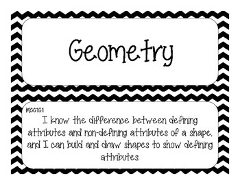 First Grade Common Core Student-Friendly Math Standards - Black Chevron