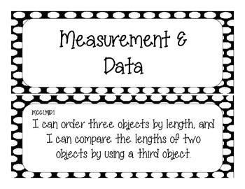 First Grade Common Core Student-Friendly Math Standards - Black Polka Dot