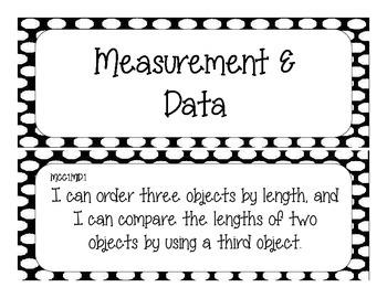 First Grade Common Core Student-Friendly Math Standards - Black Polka Dot