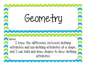 First Grade Common Core Student-Friendly Math Standards - Blue & Green Chevron