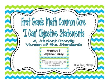 First Grade Common Core Student-Friendly Math Standards - Blue & Green Chevron