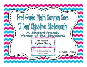 First Grade Common Core Student-Friendly Math Standards - Blue &Pink Chevron