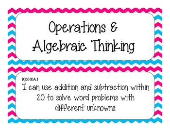 First Grade Common Core Student-Friendly Math Standards - Blue &Pink Chevron