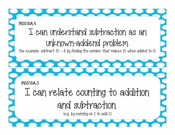 First Grade Common Core Student-Friendly Math Standards - Blue Polka Dot