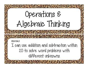 First Grade Common Core Student-Friendly Math Standards - Cheetah Print