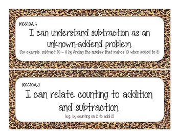 First Grade Common Core Student-Friendly Math Standards - Cheetah Print