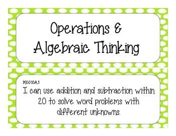 First Grade Common Core Student-Friendly Math Standards - Green Polka Dot