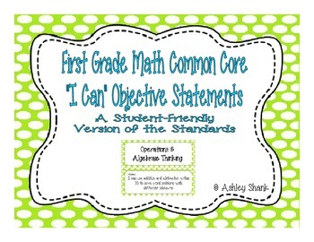 First Grade Common Core Student-Friendly Math Standards - Green Polka Dot