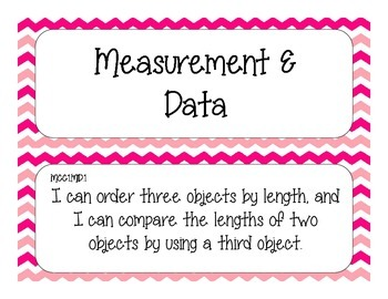 First Grade Common Core Student-Friendly Math Standards - Pink Chevron