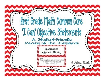 First Grade Common Core Student-Friendly Math Standards - Red Chevron