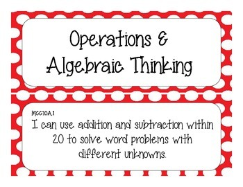 First Grade Common Core Student-Friendly Math Standards - Red Polka Dot