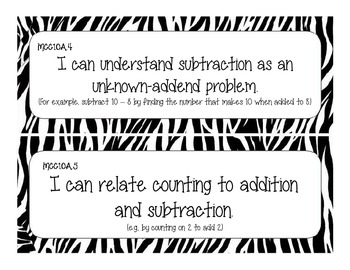 First Grade Common Core Student-Friendly Math Standards - Zebra Print