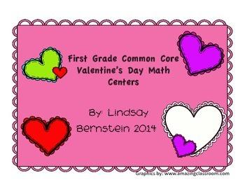 First Grade Common Core Valentine Math Centers