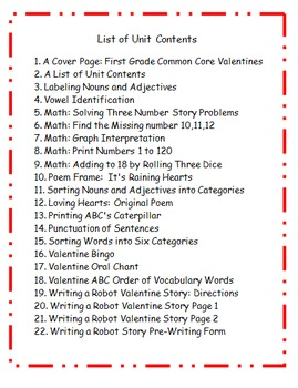 Valentine's Day First Grade Activities