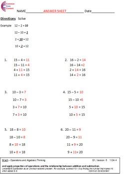 First Grade Common Core Math Worksheets 1.OA.A.3, 1.OA.A.4, 1.OA.A.5