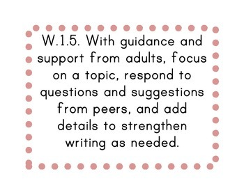 First Grade Common Core Writing Standards Posters