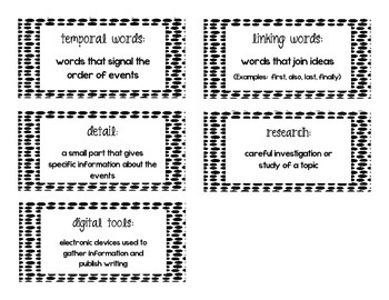 First Grade Common Core Writing Vocabulary Cards