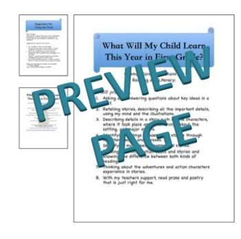 First Grade Common Core Reading & Literacy in Parent Language