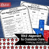 FREEBIE First Grade TEKS to CCSS Math Standards Crosswalk