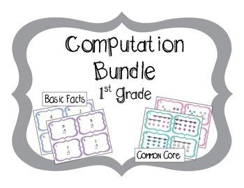First Grade Computation Task Card 8 Set Bundle