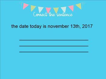 First Grade Correct the sentence smartboard companion