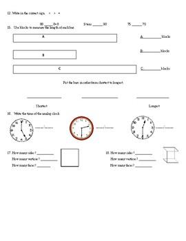 First Grade Cumulative Math Assessment for Common Core