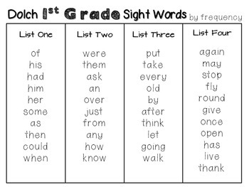 First Grade DOLCH Sight Word Pack