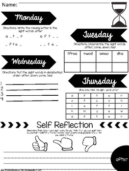 First Grade DOLCH Sight Word Self-Reflection Journal