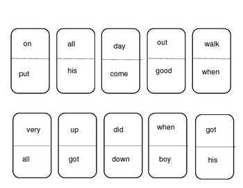 First Grade DRA Sight Word Dominos