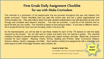 First Grade Daily Assignment Checklist for use with Abeka Curriculum