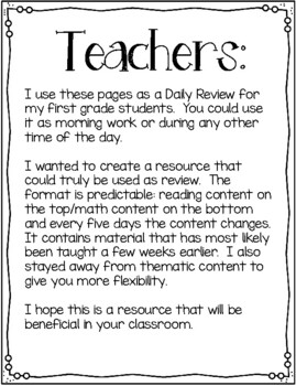 First Grade Daily Dose- 2nd Quarter (morning work or daily practice)