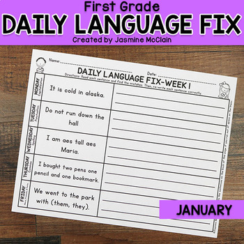 First Grade Daily Language Fix for January