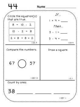 First Grade Daily Math (Pack 3)