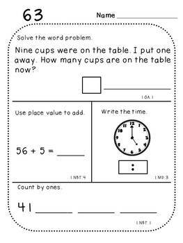 First Grade Daily Math (Pack 4)