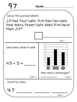 First Grade Daily Math (Pack 5)
