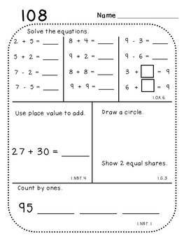 First Grade Daily Math (Pack 6)