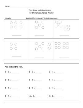 First Grade Daily Math Practice Pages