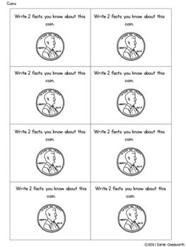 First Grade Daily Math Problems: Coins
