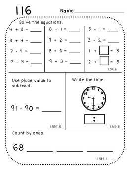 First Grade Daily Math and Student Growth Assessments (Combo Pack)