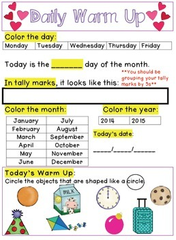 First Grade Daily Warm Ups for the Entire Year BUNDLE!