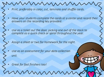 NEW! First Grade Data Collection Task Cards 1.8A, 1.8B, 1.MD.C.4