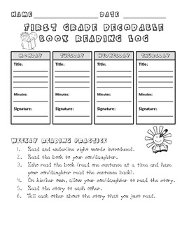 First Grade Decodable Book Reading Log