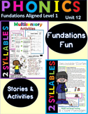 2 Syllables Decodable Stories and Activities Level 1 Unit 12