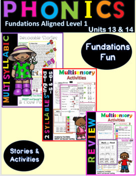 Multisyllable Decodable Stories and Activities Level 1 Unit 13 & 14