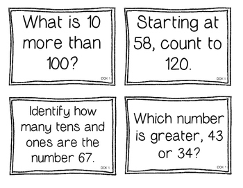 First Grade Depth of Knowledge {DOK} Numbers & Operations in Base Ten Questions